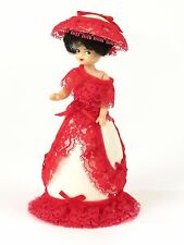Plastic musical doll red lace dress lady brown hair 6 in D Capobianco