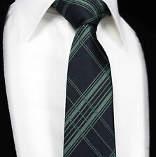 Mens Tie SALE Scottish Tartan in Grey Green Black Blue Check & Stripe
