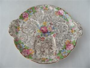 Antique Vintage James Kent Balmoral all over Floral Chintz Breakfast Tray Plate