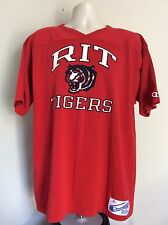 Vtg 80s Champion Brand R.I.T. Tigers Jersey T-Shirt Red XL RIT Rochester