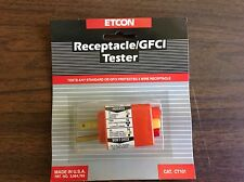New Etcon Ct101 Receptacle / Gfci Tester Made In Usa, push button Gfci test