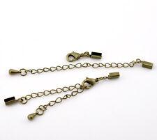 20 sets Fermoirs&Chaîne d'extension Bronze pr Collier&Bracelet 9cmx4mm 24x7mm