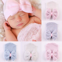 Cute Newborn Baby Infant Girl Toddler Comfy Bowknot Hospital Cap Beanie Hat SOFT