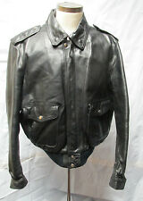Vintage eagle iron Black Leather motorcyle jacket size men's 46