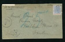 GOLD COAST 1892 POSTAGE DUE to GERMANY QV 2 1/2d via LIVERPOOL BR.PACKET DRESDEN
