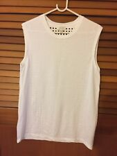 Woman's NEW Witchery Size S white cut out square checker blouse T-shirt top