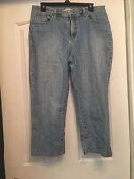 CHICOS PLATINUM A85 Cotton Blend Blue Cropped Jeans Size 2.5 (32x22)