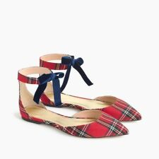 J.Crew Plaid Ankle Strap D'Orsay Flats Red Black Shoes Size 7