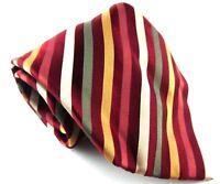 Van Heusen Tie Necktie 100% Silk Gold Silver Red Striped