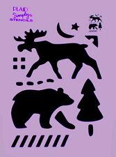 MOOSE STENCIL BEAR PINE TREE MOON STAR TREES STENCILS TEMPLATES TEMPLATE NEW