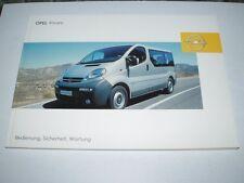 Manual de instrucciones Opel Vivaro, edición 06/2003 (nuevo) #bavi 0603