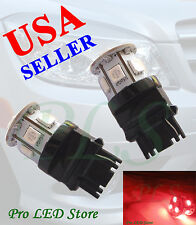 2x 7440 T20 Super Red 9 SMD LED Back Up Reverse Lights Bulbs