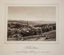 Schotten  Hessen Vogelsberg seltener echter alter    Stahlstich 1850