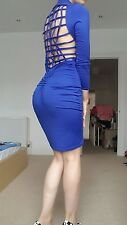 BLOGGERS FAVOURITE Blue Bodycon Open Back Cage Dress in Size 6/8