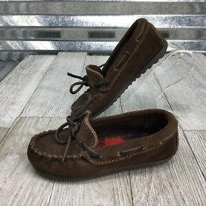 Minnetonka Brown Leather Suede Comfort Moccasin Slip On Unisex Size 9C