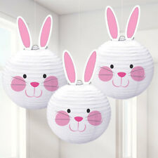 Happy Easter Bunny White Lanterns Egg Hunt Party Hanging Decoration x 3
