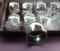 8 Unused Silver Plate English Vintage Napkin Rings Boxed