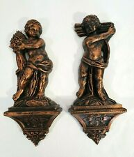 Set 2 Vintage Bronze Plastic Wall Hanging Statue Figurine Angel Cherub Cupid USA