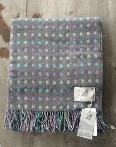 Bronte by Moon UK 100% Merino Wool Throw – Gray / Purple / Blue Dots – New