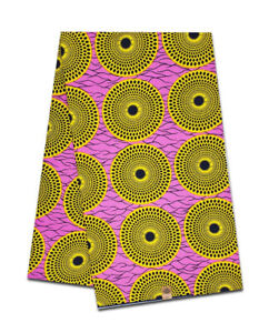 African Cotton Fabric Wax Block Print On Pink Sold Per Yard Craft Making Sewing