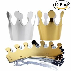 10x Shimmer Paper Crowns Kids Children Birthday Party Hats Fun Game