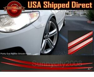 2 Pieces Flexible Slim Fender Flare Lip Extension Red Trim Protector For AUDI