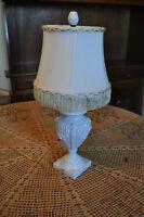 1930-1940 Antique White Italian Style Porcelain Lamp w Original finial
