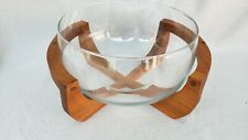 Mid Century Modern Teak Caddy Glass Salad Bowl