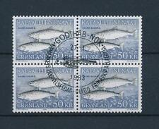 [48090] Greenland 1983 Marine life Fish Block of 4 Used FDC Cancel