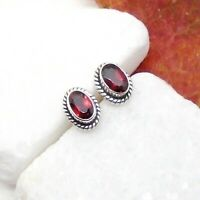 Granat rot red oval Design Ohrringe Ohrstecker Stecker 925 Sterling Silber neu