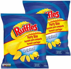 Ruffles Original Ready Salted Potato Crisps Party Size (2 x 300g) New Pack