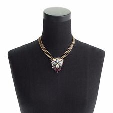 J. Crew Crystal Foilage Pendant Necklace New SOLD OUT Gold Brass Crystal Cluster