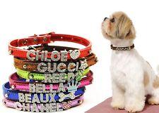 Dog Cat Pet Collar Metallic Bling Personalized Rhinestone Crystal Name collar