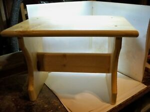 "10"" Handcrafted Wooden Step Stool, 10"" high,9"" long Pine Coated Polyurethane"