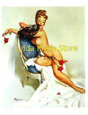 Pin Up Girl PRINT Redhead Nude With Fan Roses and Blue Chair