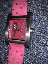 *RARE* Pink Ladies Pink Leather Watch 924 SWI Fetan Leather Swiss Movement!