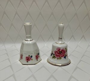 """Two Camelot China Bells, Floral Design Hexagon/Round 4"""" Tall"""