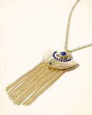 HOLLISTER Gold Tone Fringe Blue Pendant Necklace, RRP £13