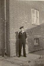 WWII German Navy RP- Kriegsmarine- Sailor- Uniform- Hat- Standing by Brick Wall