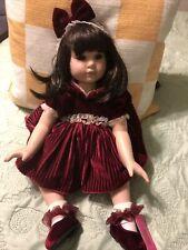 Red Velvet Porcelain Doll by Marie Osmond, 19'', Used
