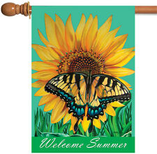 New Toland - Welcome Summer - Colorful Sunflower Butterfly Spring House Flag