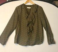 Ann Taylor LOFT Women's M Blouse Brown Long Sleeve Ruffle Button Up