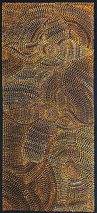 Joy Purvis Petyarre ,Authentic Aboriginal Art, Size; 105 x 45cm  Bush Yam Seeds.