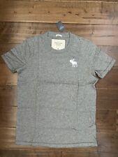 New Abercrombie & Fitch Muscle Fit Men's Cotton Crewneck T-Shirt, Gray, Size XXL