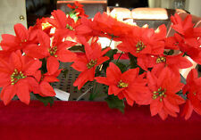 3 WHOLESALE CHRISTMAS POINSETTIA FLOWERS SILK RED WITH GOLD CENTER 7 HEADS CRAFT