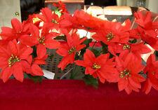 3 Venta Por Mayor Navidad Poinsettia Flores De Seda Rojo Con Centro De Oro 7 cabezas Craft