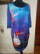 Robe longue polyester bleu turquoise imprimé phare ANATOPIK DYNNA 44 dentelle