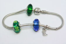 "Pandora 925 Sterling Silver 4H 3 Blue Green Irish Charm Snake Chain 7"" Bracelet"