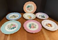 Vintage German Fruit and Floral Scalloped Gold Accented Plates Lot of 7