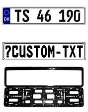 New Denmark/Danish EEC European Front License Plate (Custom) & Mounting Frame